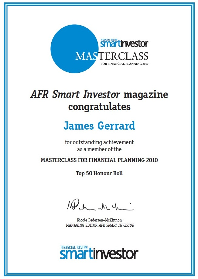 Australian Financial Review Master Class Top Financial Planner